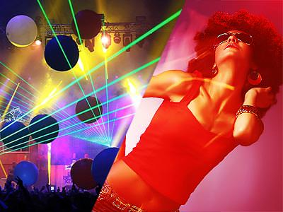 A split image of a club and a woman dancing in a wig and glasses