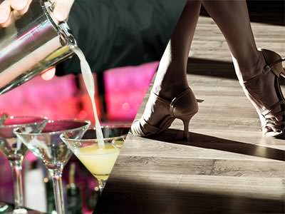 A split image of some cocktails being poured and a woman's feet dancing