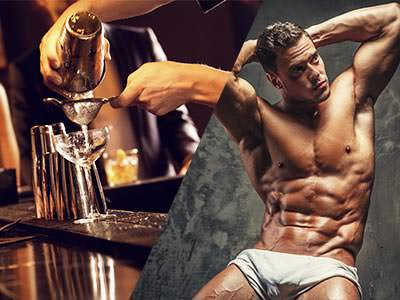 A split image of a cocktail being poured and a naked man posing on a chair