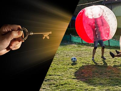 A split image of a hand holding a key and a person in a zorb on a pitch