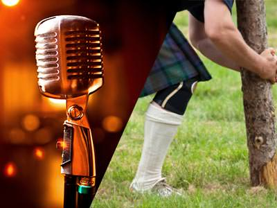 Split image of a silver microphone to a backdrop of lights, and a man in a kilt attempting to pick up a log