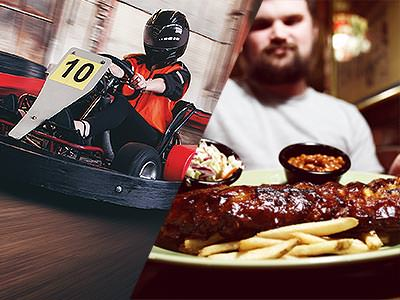 Split image of a man driving a kart on an indoor track, and a man sitiing in front of a plate of ribs with two sides