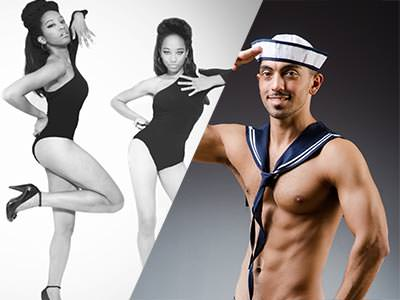 Split image of a black and white photo of two women dancing in black leotards, and a semi-naked man in a sailor hat and a neckercheif