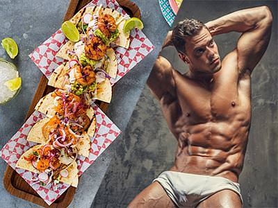 Split image of food set out on paper and wooden boards, and a muscly man posing in white underwear