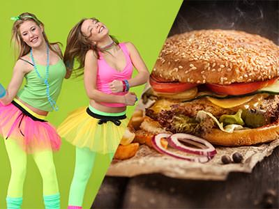 Split image of girls dressed 80s style in bright tutus, tights and vests, and a burger on a board