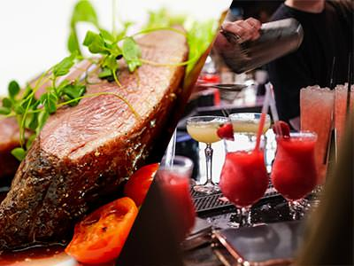 Split image of steak and a bartender pouring out cocktails on a bar top