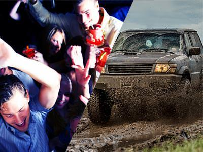 Split image of people dancing in a club, and a 4x4 driving through mud