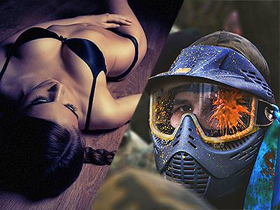 Split image of a woman lying back on the floor in black underwear, and a man in a paint-splattered paintball mask