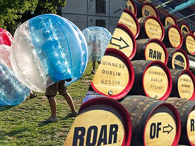 Split image of people playing in zorbs on an outdoor pitch, and beer kegs on top of each other