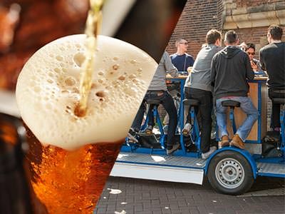 Split image of men sat on a beer bike and a beer being poured from a tap