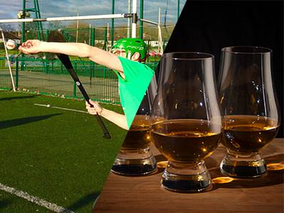 Split image of a man playing gaelic football and three half full whiskey glasses on a table