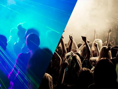 Split image of people dancing in a club to blue light, and people on a club dance floor with their hands in the air