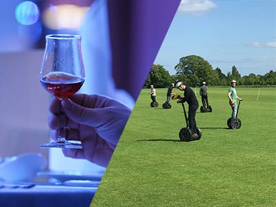 Split image of a man's hand holding a whiskey glass and people on Segways on a pitch