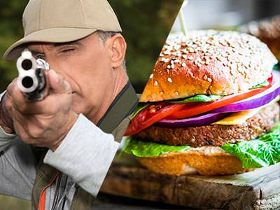 Split image of a man firing a shotgun to the camera, and a burger on a wooden board