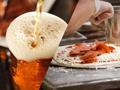 Split imahe of a pizza and a beer being poured
