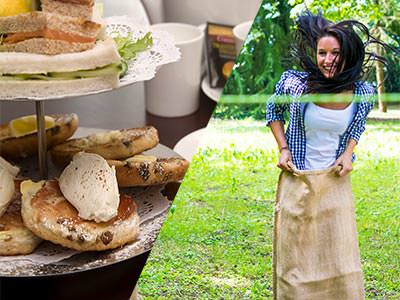 Split image of afternoo tea on a cake tier, and a woman jumping in a sack to a ribbon in a field