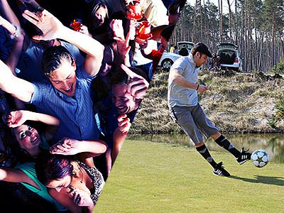 Split image of people dancing in a club, and a man kicking a football on a golf course