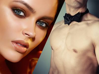 Split image of a close up of a woman's face and a naked male torso in a black bowtie