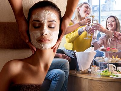 Split image of a woman receiving a neck massage with a face mask on, and women toasting with champagne flutes at afternoon tea