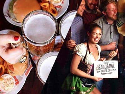 Split image of people toasting with beer over food, and a woman posing with a group of men