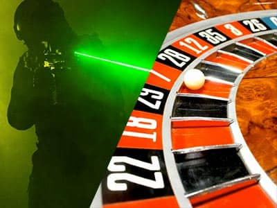 Split image of a man aiming a green laser from a laser gun, and a white ball on a roulette wheel