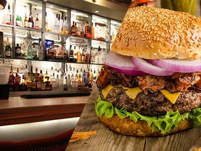 Split image of a bar, and a burger