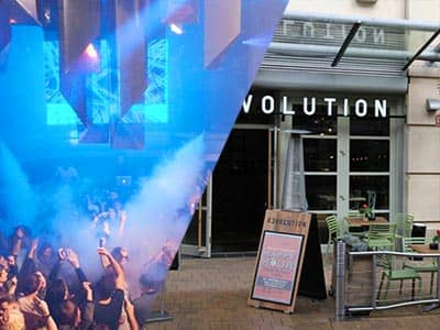 Split image of people dancing in a club to a backdrop of blue light and smoke, and the exterior of Revolution