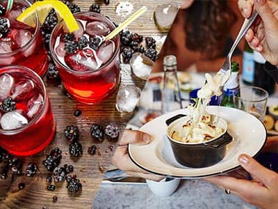 Split image of red cocktails topped with ice and berries, and a woman's hand lifting a fork from a bowl full of food