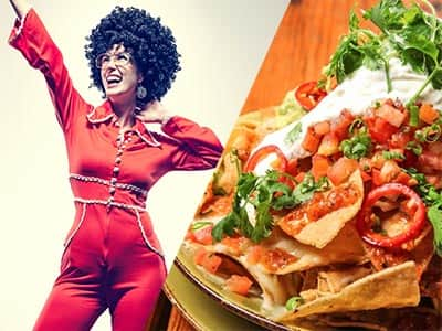 Split image of a woman in a red jumpsuit and afro wig,and nachos topped with sauce and salsa
