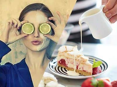 Split image of a woman holding limes over her face, and cream being poured onto a slice of cake