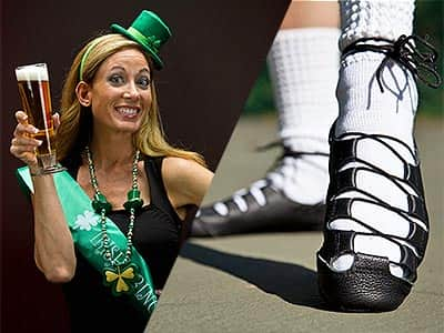 Split image of a woman in a hat, sash and holding a pint glass, and a close up of a woman in black dancing shoes