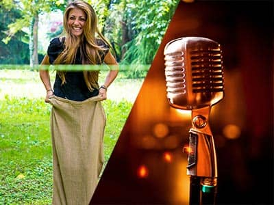 Split image of a woman in a sack and jumping towards a ribbon in a field, and an old-style microphone to a backdrop of lights