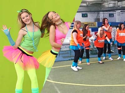 Split image of two women in neon-coloured tutus, tights and vests, to a green backdrop, and women stood in bibs in a sports centre
