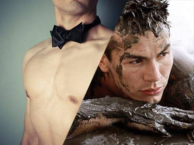 Split image of a semi-naked man in a black bowtie, and a man covered in mud