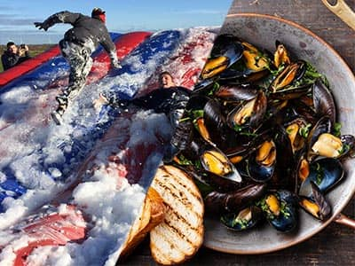Split image of men climbing up a foam inflatable, and a bowl of mussels with a side of bread