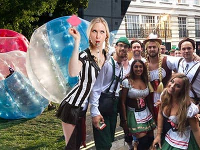 Split image of a woman in a referre outfit, blowing a whistle and holding a red card over an image of people playing in zorbs, and men and women posing in Bavarian outfits