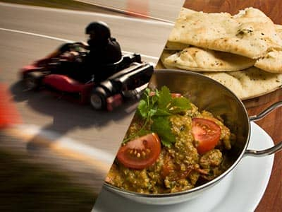 Split image of a man driving a go kart on an outdoor track, and a curry in a bowl with a side of naan bread