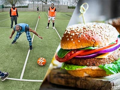 Split image of men playing goggle football, and a burger served on a wooden board