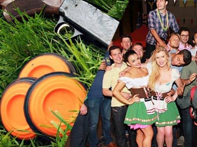 Split image of three orange clay discs next to a shotgun, in grass, and women in Bavarian beer maid outfits, posing next to a group of men