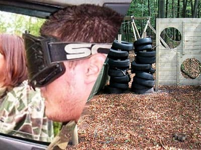Split image of a man wearing blinding goggles, and an outdoor paintball area in a forest