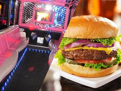 Split image of the interior of a party bus, with pink seats, and a burger on a plate