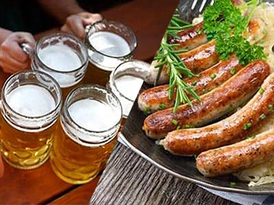 A split image of some steins of beer and some Bratwurst sausages
