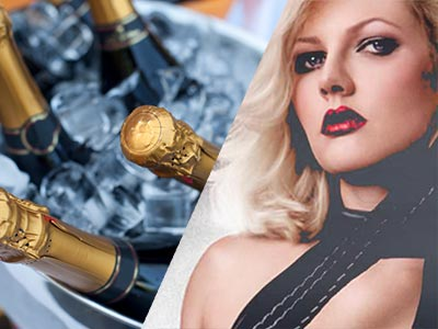 A split image of some Champagne chilling and a blonde woman posing