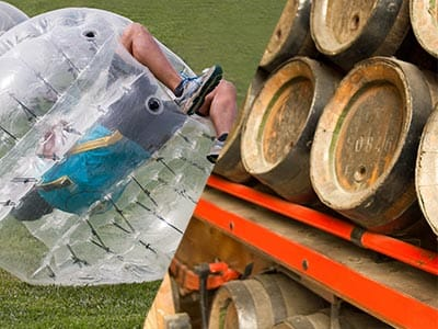 Split image of guy rolled over inside an inflatable ball and kegs of beer stacked up