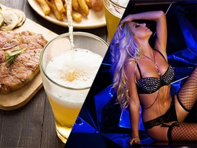 Split clip of a steak and a pint of lager on table and a woman in a studded black bra with fishnet stockings sitting on floor holding her hair back with hand