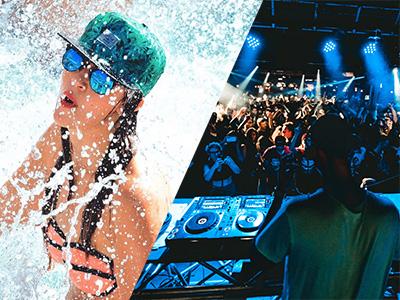 A woman splashing in a pool and a DJ in a nightclub