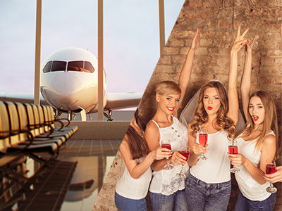 A waiting area at an airport and a group of women with cocktails