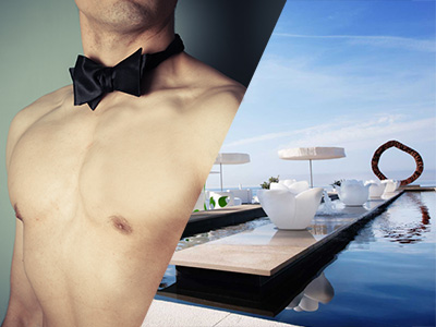 A naked man in a bow tie and a view of the pool at Anima Beach Club