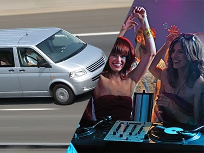Split image of a silver van driving and two girls dancing standing next to a dj