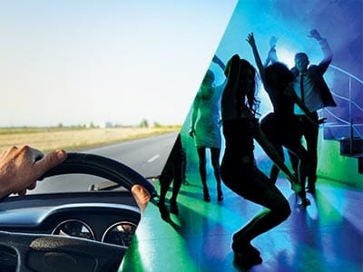 Split image of hands on a steering wheel and girls dancing on dancefloor